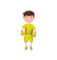 little boy in sport uniform football player kids vector image