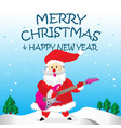 santa play rock guitar and merry christmas cartoon vector image