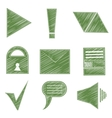 Set icons symbols arrows checkmark envelope vector image