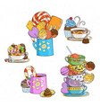 sweets in cups with different candies and cookies vector image