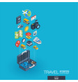 travel integrated 3d web icons growth and vector image