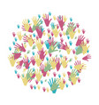 colorful circle formed by pattern of hands vector image