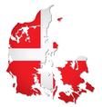 Denmark flag map vector image vector image
