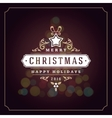 Christmas lights and typography label design vector image vector image