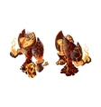 Cartoon fire golem game character on white vector image
