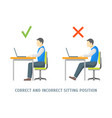 incorrect and correct sitting position card vector image