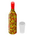 Vodka and glass Traditional Russian alcohol Bottle vector image