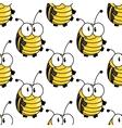 Yellow cartoon striped bugs seamless pattern vector image