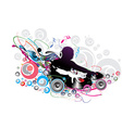 dj man playing tunes vector image