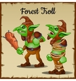 Troll with a wooden club bound by rope vector image