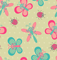 Cute bugs background vector image
