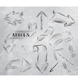 Arrow stylized drawing in charcoal on board vector image