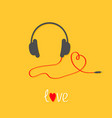 headphones and red cord in shape of heart white vector image