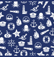 ocean or sea seamless pattern with anchor boat vector image