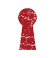 Red grunge keyhole logo vector image