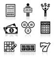 Winning money on lottery slot machine icons set vector image