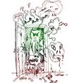 Horror open door vector image vector image