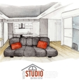 Modern Watercolor Interior Design vector image