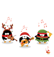 Penguins Playing Christmas Music vector image