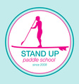 Colorful logo template for stand up paddling vector image