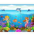 cartoon mermaid under the sea vector image