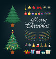 christmas tree greetings set with decorative xmas vector image