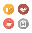 Coffee flat design icons set vector image