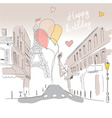 Happy birthday card from Paris Eiffel tower vector image