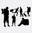 tourist male and female pose silhouette vector image