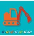 Flat design excavator vector image