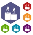 Aromatic candles icons set vector image