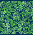 ink hand drawn green foliage seamless pattern vector image vector image