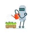 housemaid robot character with watering can vector image