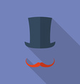 Hat and moustaches Flat style icon vector image