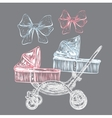 Hand drawn baby carriage vector image