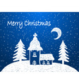 Christmas church with snow at night vector image