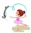 Happy Girl gymnast with blue ribbon Kids sport vector image