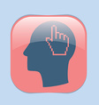 Icon head think silhoutte man and his mind about m vector image