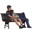 lovers on a bench vector image