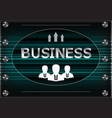three icons and word business on a turquoise vector image