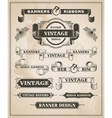 Vintage hand drawn banner and ribbon design set vector image