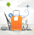Vacation travelling composition with orange bag vector image