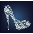 shoes shape made up a lot of diamond on the black vector image vector image