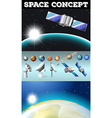 Planets in space and other objects vector image