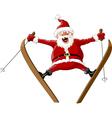 santa and ski vector image vector image