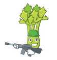 army celery character cartoon style vector image