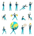 Cartoon businessman character in various poses vector image