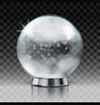 christmas snow globe transparent christmas ball vector image