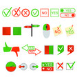 green yes and red no sign set vector image