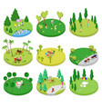 isometric outdoor park composition set vector image